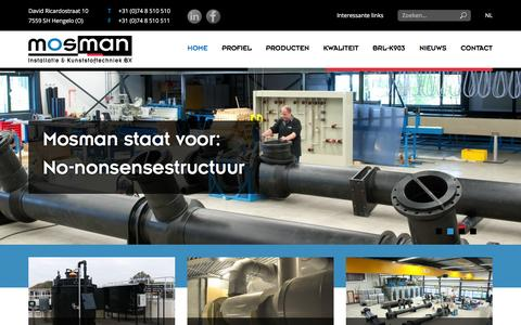 Screenshot of Home Page mosman.eu - Mosman   Installatie & Kunststoftechniek B.V. - captured Feb. 24, 2016