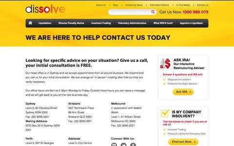 Screenshot of Contact Page dissolve.com.au - Contact Us - Dissolve - captured Sept. 30, 2014