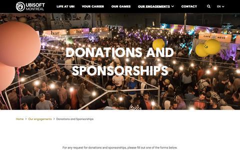 Screenshot of Testimonials Page ubisoft.com - Donations and Sponsorships - Ubisoft Montréal - captured Nov. 8, 2019