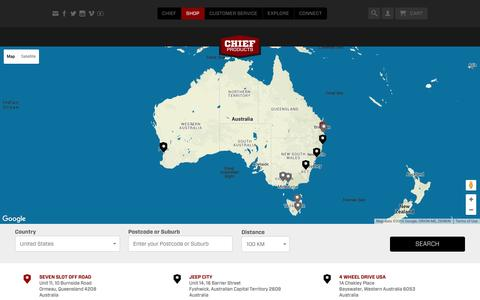 Screenshot of Locations Page chiefproducts.com.au - Locations | Chief Products - captured July 12, 2016