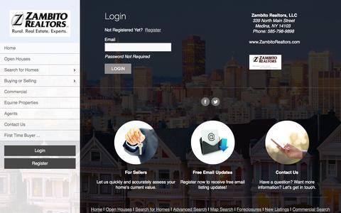 Screenshot of Login Page zambitorealtors.com - User Login | Medina Homes for Sale, Property Search Rural WNY, Country Homes, Equine Properties, Horse Farms, Rural Real Estate Experts - captured Feb. 26, 2016