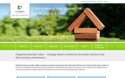 Screenshot of Home Page citadelpartnersus.com - Citadel Partners | A Real Estate Advisory Firm - captured Jan. 28, 2016