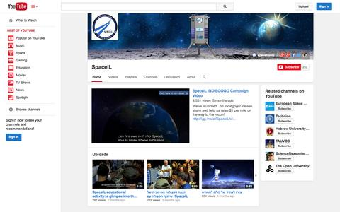 Screenshot of YouTube Page youtube.com - SpaceIL  - YouTube - captured Oct. 22, 2014