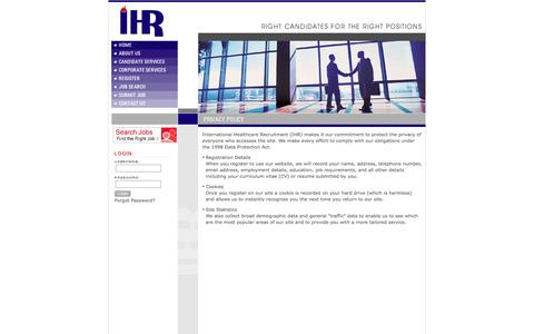 Screenshot of Privacy Page healthcarerecruit.com - Healthcare and Pharmaceutical Recruitment Agency - captured Oct. 6, 2014