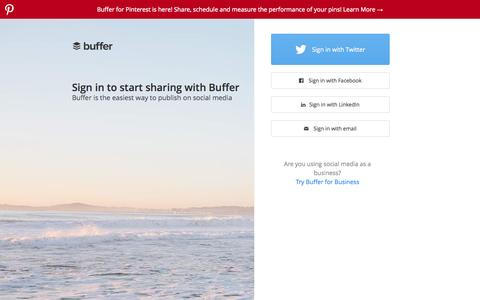 Screenshot of Home Page buffer.com - Buffer - A Smarter Way to Share on Social Media - captured June 18, 2015