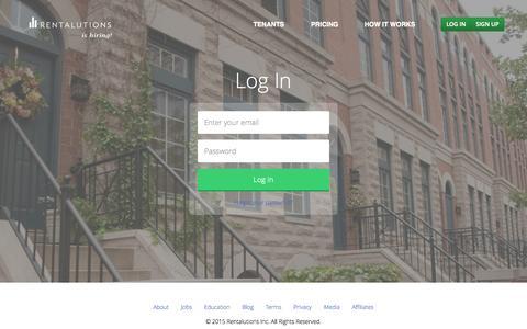 Screenshot of Login Page rentalutions.com - Landlord Software   Rentalutions - captured July 15, 2015