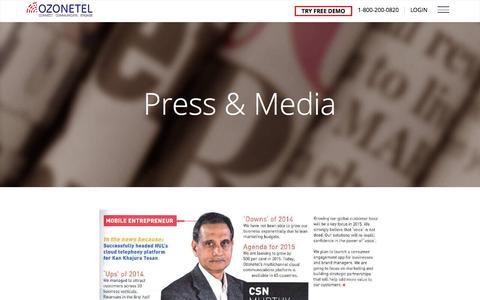Screenshot of Press Page ozonetel.com - Ozonetel Press and media - captured Aug. 22, 2016