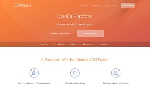 Screenshot of dwolla.com - Dwolla for ACH Payments - captured Dec. 30, 2017