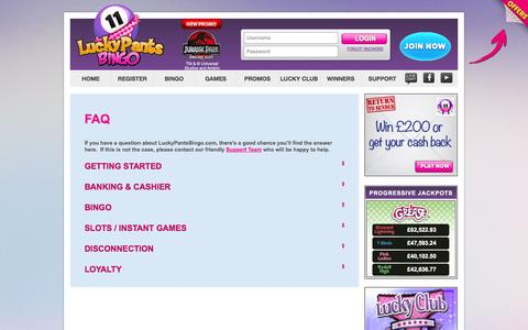 Screenshot of FAQ Page luckypantsbingo.com - FAQ - Lucky Pants Bingo - captured Sept. 30, 2014