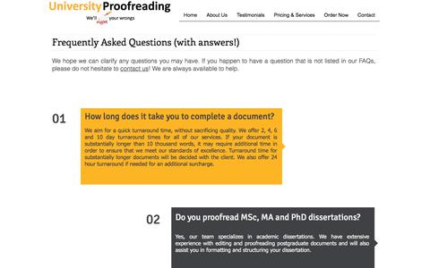Screenshot of FAQ Page universityproofreading.com - FAQs - captured June 19, 2017