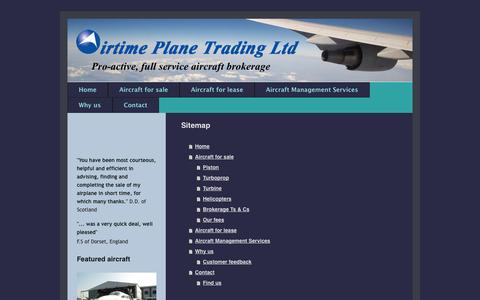 Screenshot of Site Map Page airtimeplanetrading.com - Airtime Plane Trading: Home: Aircraft Brokerage, Aircraft Sales, Aircraft Management - captured Oct. 4, 2014