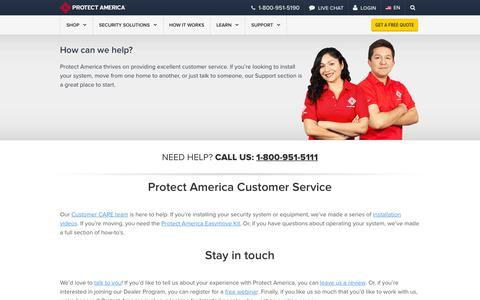 Screenshot of Support Page protectamerica.com - Customer Service and Support   Protect America - captured Oct. 2, 2015