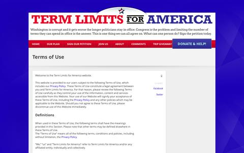 Screenshot of Terms Page termlimitsforamerica.org - Terms of Use - My CMS - Send Congress Home - captured Oct. 26, 2014