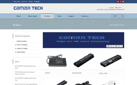 Screenshot of Products Page kaapower.com - Products - COMAN TECH - captured Sept. 25, 2018