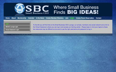 Screenshot of Login Page sbceo.com - Login | Small Business CEO | Small Business Marketing | Small Business Resources - captured Oct. 7, 2014
