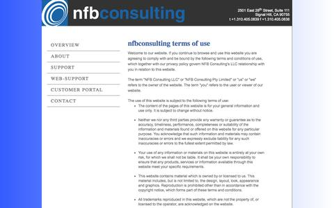 Screenshot of Terms Page nfbconsulting.com - NFB Consulting | Terms - captured Oct. 7, 2014