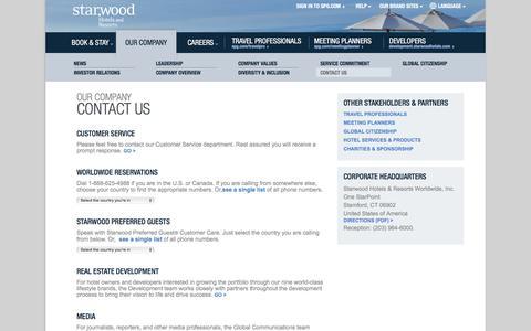 Screenshot of Contact Page starwoodhotels.com - Starwood Hotels & Resorts - captured April 9, 2016