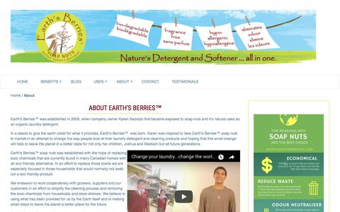 Screenshot of About Page earthsberries.com - About | Earth's Berries™ Soap Nuts - captured June 30, 2018