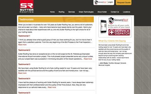 Screenshot of Testimonials Page sutterroofing.com - Customers Roofing Testimonials | Sutter Roofing Florida - captured Oct. 3, 2014