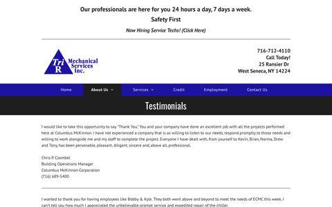 Screenshot of Testimonials Page trirmechanical.com - Testimonials   Buffalo, NY   Tri - R Mechanical Services Inc - captured Oct. 20, 2018