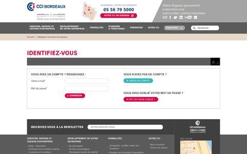 Screenshot of Login Page bordeaux.cci.fr - Chambre de Commerce et d'Industrie de Bordeaux - captured Oct. 31, 2014
