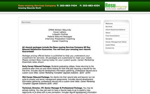 Screenshot of Services Page resu-mazing.com - Services - captured Oct. 8, 2014
