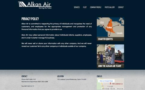Screenshot of Privacy Page alkanair.com - Privacy Policy - captured Oct. 4, 2014