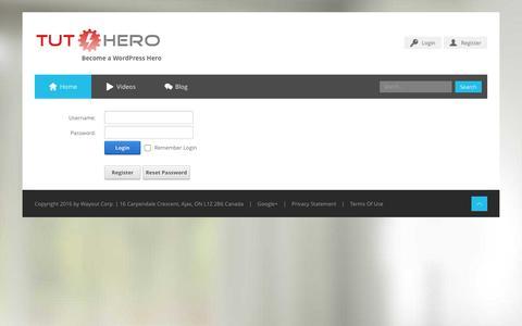 Screenshot of Login Page tuthero.com - User Log In - captured Feb. 16, 2016