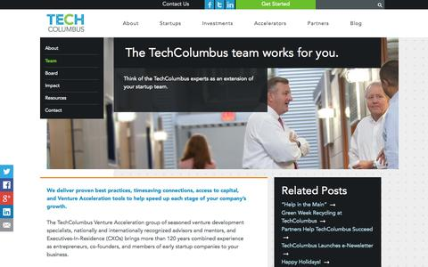 Screenshot of Team Page techcolumbus.org - Put more than a century of startup experience to work for your emerging business.  | TechColumbus - captured Sept. 19, 2014