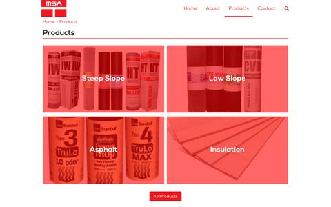 Screenshot of Products Page msaroof.com - Products | MSA Roof - captured Oct. 18, 2017