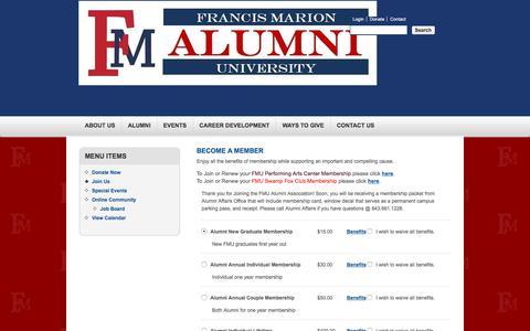 Screenshot of Signup Page fmarion.edu - Donation Form - Francis Marion University - captured Sept. 24, 2018