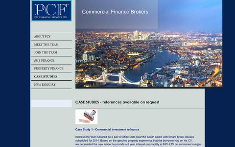 Screenshot of Case Studies Page pcflimited.com - PCF are one of the leading Commercial Finance Brokers in the UK with access to ALL Lenders - CASE STUDIES - captured Feb. 2, 2016