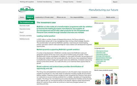 Screenshot of About Page mcbride.co.uk - The investment case   McBride - McBride - captured Nov. 18, 2016