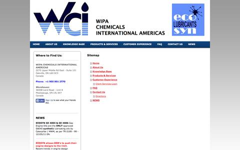Screenshot of Site Map Page wci-ltd.com - High Quality Synthetic Lubricants - captured Oct. 26, 2014