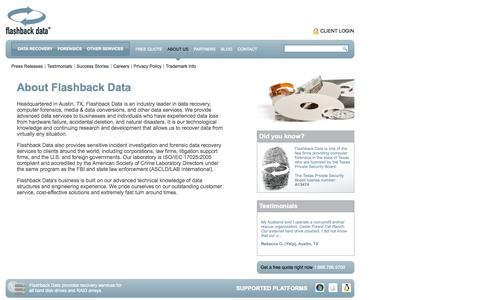 Screenshot of About Page flashbackdata.com - About Flashback Data - Data Recovery Service Provider - Computer Forensics - captured Oct. 6, 2014