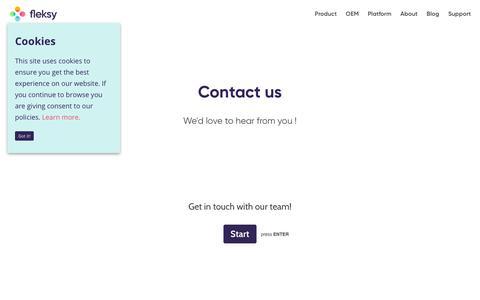 Screenshot of Contact Page fleksy.com - Contact | Fleksy - captured Feb. 13, 2019