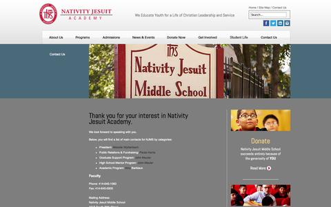 Screenshot of Contact Page njms.org - Contact - captured Oct. 6, 2014