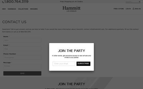 Screenshot of Contact Page hammitt.com - CONTACT US - Hammitt - captured Nov. 9, 2018
