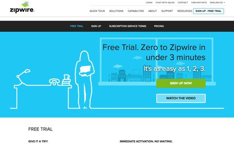 Screenshot of Trial Page aspect.com - Cloud Contact Center Free Trial | Zipwire - captured Oct. 26, 2014