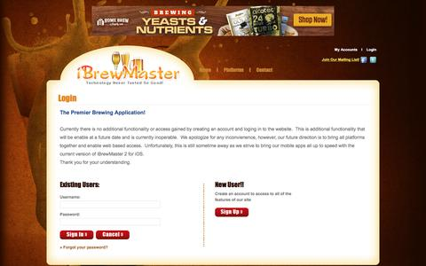 Screenshot of Login Page ibrewmaster.com - iBrewMaster.com :: Login :: - captured Jan. 31, 2017