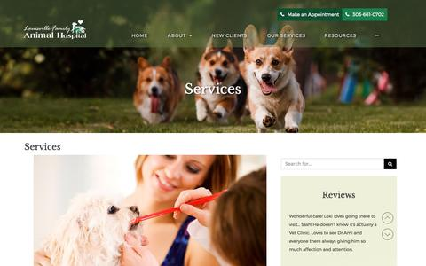Screenshot of Services Page caringforyourpets.com - Veterinary Services in Louisville CO at Louisville Family Animal Hospital - captured Sept. 11, 2017