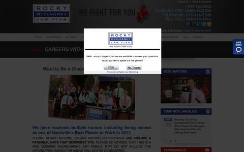 Screenshot of Jobs Page rockylawfirm.com - Careers With Rocky Law Firm - Rocky McElhaney Law Firm - captured March 4, 2016