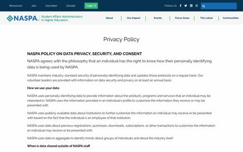 Screenshot of Privacy Page naspa.org - Privacy Policy - captured Oct. 23, 2019