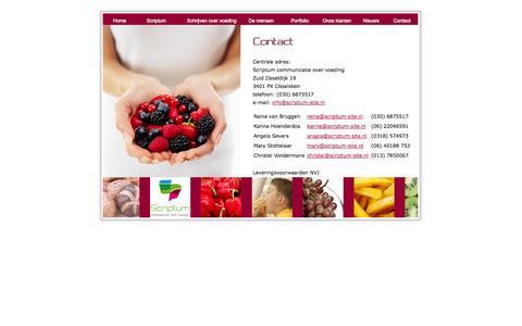 Screenshot of Contact Page scriptum-site.nl - Scriptum communicatie over voeding, tekst, recept, advies over voedingContact - captured Oct. 27, 2014