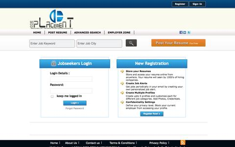 Screenshot of Login Page ccieplacement.com - World First & No1 Job Portal for Cisco Certified Professionals - captured Sept. 26, 2014
