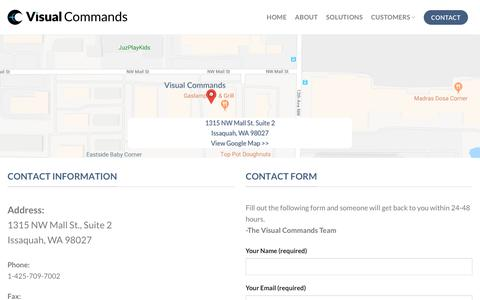 Screenshot of Contact Page visualcommands.com - Contact – Visual Commands - captured Sept. 20, 2018