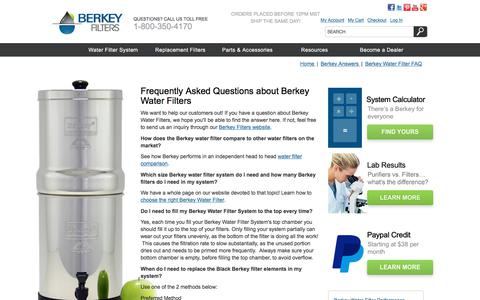 Screenshot of FAQ Page berkeyfilters.com - Water Filter FAQ - Questions About Berkey Water Filters - captured Aug. 1, 2018