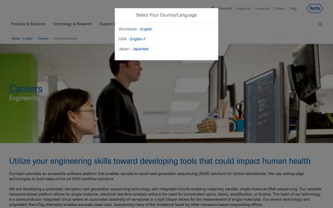 Screenshot of Jobs Page roche.com - Engineering page - captured July 16, 2019