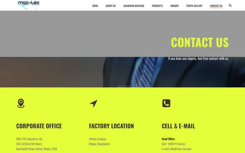Screenshot of Contact Page mac-tex.com - Contact Us – MAC-TEX Industries Ltd. - captured Dec. 17, 2018
