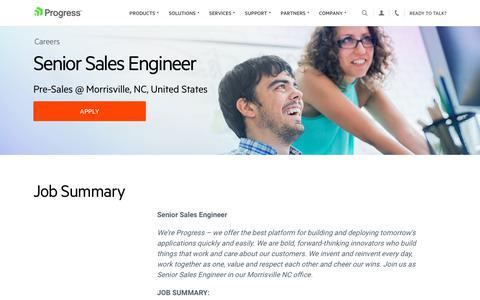 Screenshot of Jobs Page progress.com - Senior Sales Engineer, Pre-Sales @ Morrisville, NC, United States - Progress Careers - captured July 17, 2019